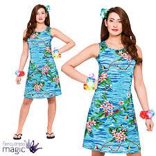 ladies maxi orchid ocean dress hawaiian luau fancy dress party
