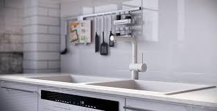 White Gloss Kitchen Design Ideas by Rip3d Industrial Loft High Gloss White Kitchen Island Splash Back