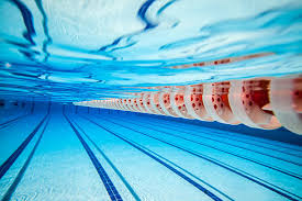 Underwater View Of A Swimming Pool And Cord Stock Photo