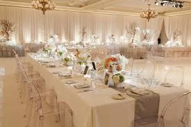 Reception Decor In White Taupe And Cream Shades With Peach Flowers