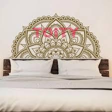 halb mandala blume schlafzimmer vinyl wandtattoo aufkleber indische blumen zen halb mandala wandaufkleber h56xw117cm 22 x 46