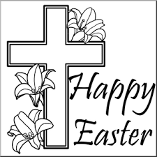 Clip Art Religious Happy Easter with Cross B&W I abcteach