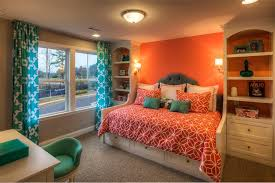 Coral Colored Decorative Accents by Coral Accent Wall Bedroom Traditional With Tufted Headboard Wooden