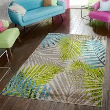 wohnzimmer teppich modern preiswert palmenblätter design