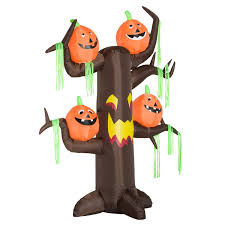 Fiber Optic Pumpkin Decorations by Aosom Homcom 8 U0027 Haunted Tree With Jack O Lantern Pumpkins