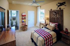 Kids Bedroom With Rustic Style And An Unique Headboard Design Mead