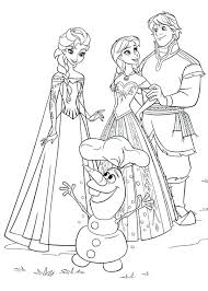 Anna Elsa Kristoff And Olaf Coloring Page Frozen Free Printable Pages