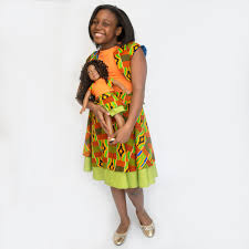 Kente Print 18 Inch Matching Doll Dress American Shodel