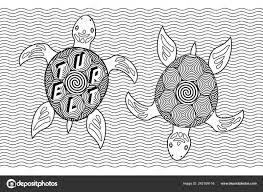 Tortue Tortue Peinte Tribal Ornement Ethnique Illustration De