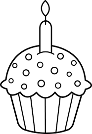 Drawn cupcake candle outline 11
