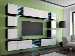 wohnwand edge weiß hochglanz schwarz mediawand medienwand design modern led beleuchtung mdf hochglanz hängewand hängeschrank tv wand