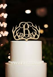 Antlers Wedding Cake TopperMonogram B TopperCustom Initial TopperRustic Topper With Decorations