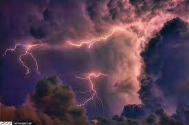 Heating Lightning In Storm Clouds Over Jupiter Sky