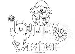 Happy Easter Coloring Page Template