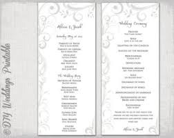 Printable Wedding Program Template Silver Gray Scroll Order Of Ceremony DIY