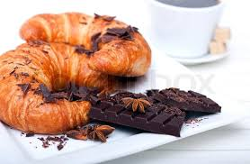 French Breakfast Coffee With Croissant And Chocolate Photo Stock