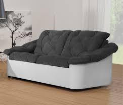 canape deux places tissu canapé fixe 2 places tissu gris blanc yolinda canapé fixe