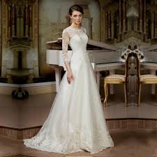 Elegant Lace Tulle Wedding Dresses Simple Design 3 4 Sleeve Cheap Rustic Dress Country Style Bride YY288 In From
