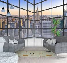 3d fenster new york stadt tapete