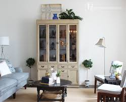 Living Room Makeover Hutch And Topiaries Rustic