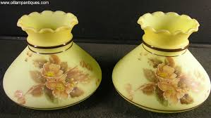 Antique Hurricane Lamp Globes by Fenton Custard Glass Lamp Shades Oil Lamp Antiques