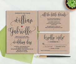 Rustic Wedding Invitation Printable Kraft Paper Vintage Invite