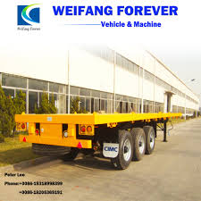 China Cimc 3 Axles Flatbed 40FT And 20FT Container Transport Truck ...