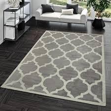 kurzflor teppich modern marokkanisches design wohnzimmer interieur trend grau größe 120x170 cm