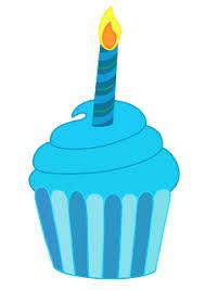 Blue clipart birthday cupcake 2