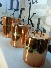 Rustic Kitchen Canister Sets by Vintage Genin Trudeau Copper Kitchen Nesting Canisters Set Of 3