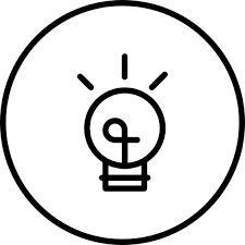 light bulb of rounded shape inside a circle icons free