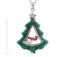 Crystaluxe Christmas Tree Shaker Pendant With Swarovski Crystals Sterling Silver