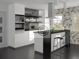 kleine küche mit kochinsel und theke bilder myloview