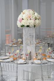 The Down Town Club Crystals Tall Centerpiece Fluffy Sparkly Bling Hydrangea Roses Stock Elegant