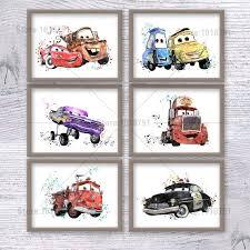 Cars Disney Watercolor Print Set Of 6 Poster Illustration Kids Room Wall Art Decor Nursery