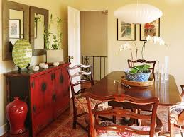 Classic Lovely Asian Style Dining Room Ideas With Wooden Varnished Table And Back Ladder Chairs Also Traditional White Hanging Lantern