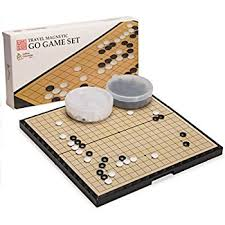 Magnetic Go Game Set With Single Convex Plastic Stones And Board 147 X 146