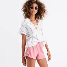 pull on side tie shorts in chambray stripe shorts madewell