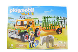 100 Safari Truck NIB Playmobil Wild Life Trailer Elephant Workers 6937