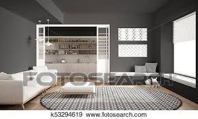 minimalist wohnzimmer mit sofa groß runder teppich