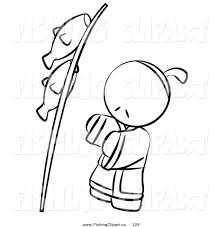 Black And White Human Outlined Japanese Boy With Fish On A Pole