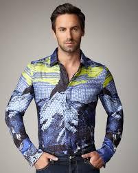 just cavalli japan print silk shirt in blue for men lyst