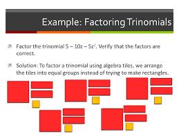 algebra tiles factoring common factors of a polynomial ppt