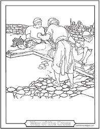 Jesus Being Nailed To The Cross Coloring Page Lent And Fifth Sorrowful Mystery Of