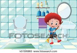 junge putzen fußboden naßmachen in badezimmer clipart