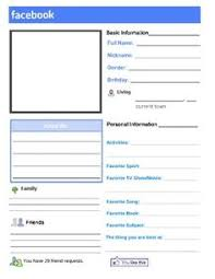 Faux Facebook Worksheet Template About Me