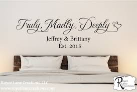 Truly Madly Deeply Family Established Bedroom Wall Decal Quote