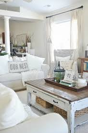 Lovely Neutral Living Room Cozy Ikea Slipcovered Couches Rustic Touches Antiques
