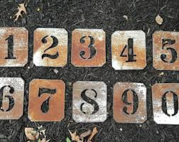 Stenciled Metal Numbers House Rustic Number Stencils Wedding Table