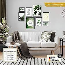 artfaves poster set elegante botanik deko monstera grün 8 moderne wandbilder premium mix 30x40 21x30 13x18 bilder wohnzimmer schlafzimmer